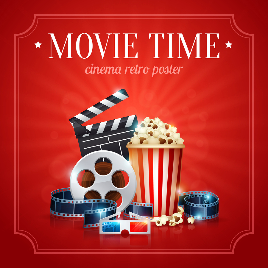 Realistic cinema movie poster template with film reel clapper popcorn 3D glasses with bokeh background